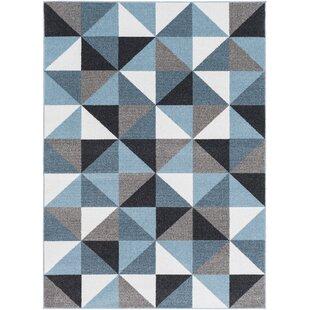 Best Ashleigh Geometric Aqua/Black Area Rug ByWrought Studio