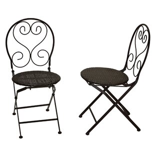 Hillesden Indoor/Outdoor Metal Folding Patio Dining Chair with Wicker (Set of 2)