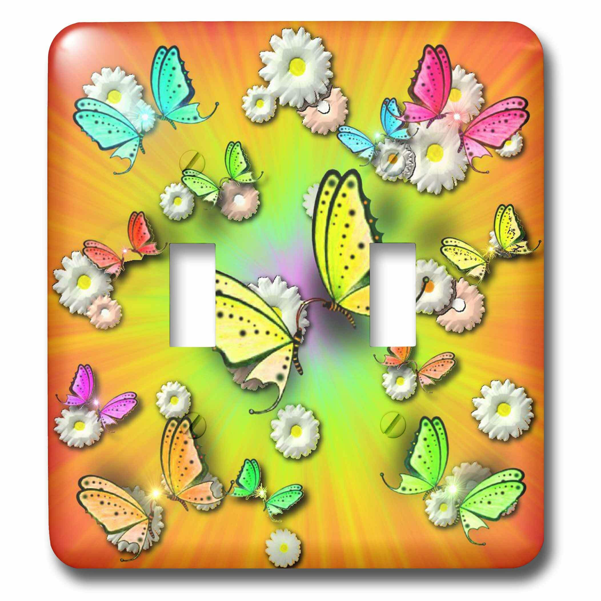 3drose Magical Rainbows Swallowtails And Daisies In 3d 2 Gang Toggle Light Switch Wall Plate Wayfair