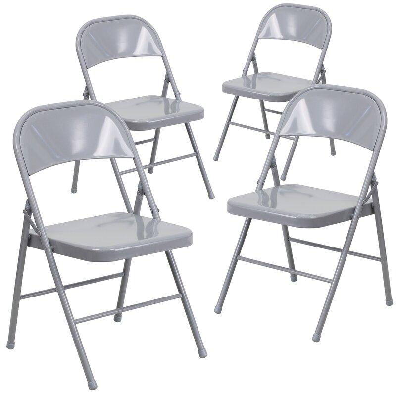 Symple Stuff Laduke Double Braced Metal Folding Chair Reviews Wayfair