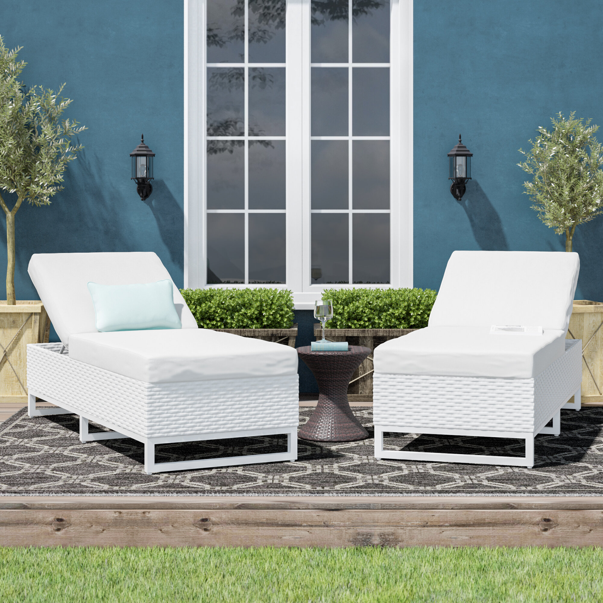 Sol 72 Outdoor Menifee Reclining Chaise Lounge With Cushion Wayfair