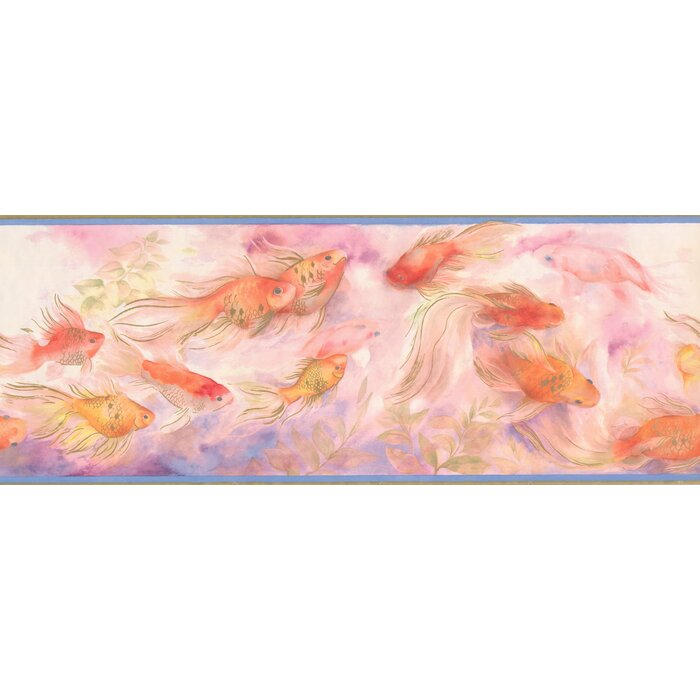 Duncombe Vintage Fish Floating In Waters 15 L X 9 W Abstract Wallpaper Border