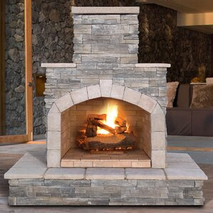 Lovely Cultured Stone Propane / Gas Outdoor Fireplace