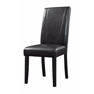 Pomonok High-Back Parson Genuine Leather Upholstered Dining Chair (Set of 2) by Charlton Home
