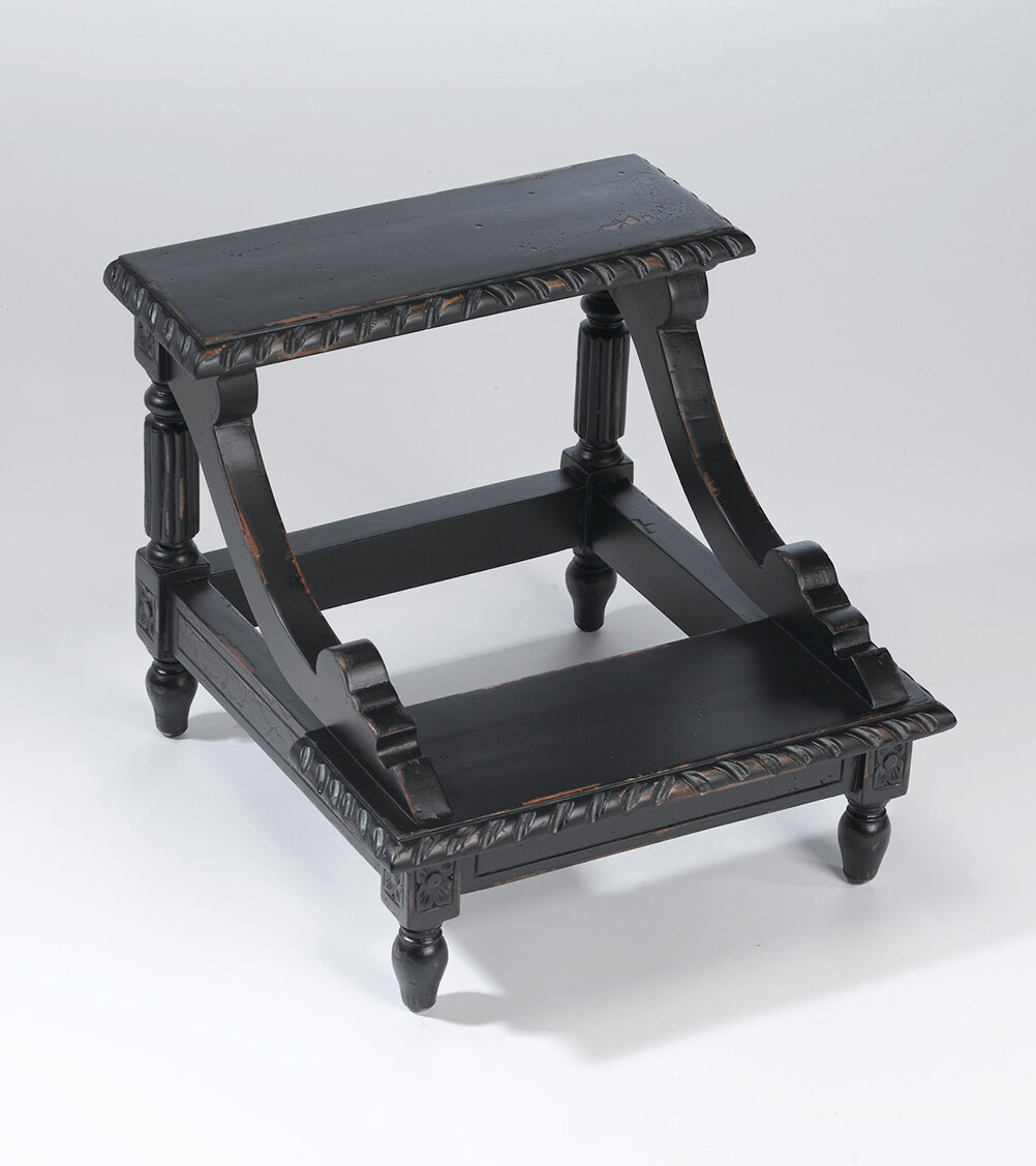 Fabulous 2 Step Wood Step Stool With 200 Lb Load Capacity Machost Co Dining Chair Design Ideas Machostcouk