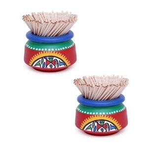 Bloomsbury Market Mcnichols Warli Handpainted Toothpick Holder (Set of 2)