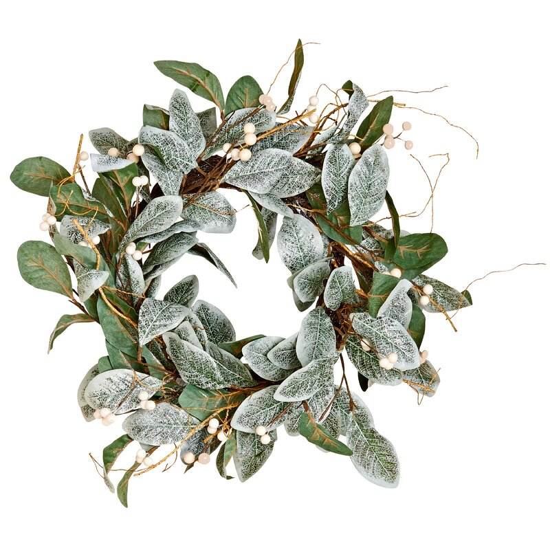 "White Berry Magnolia 22"" Polyester Wreath"