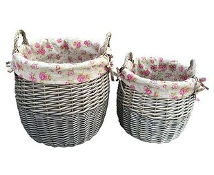 2 Piece Lined Wicker Laundry Set With Garden Rose Lining By Lily Manor