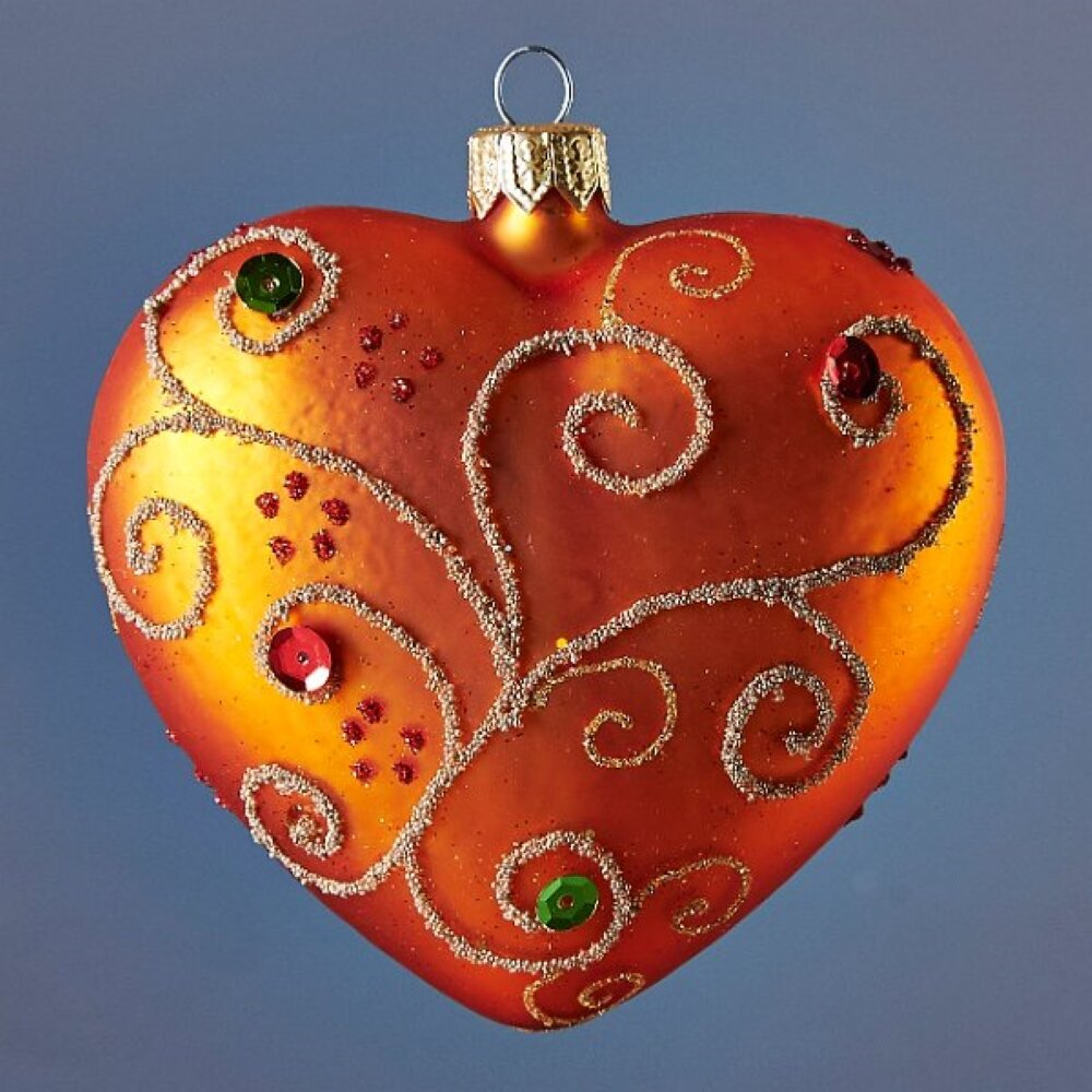 The Holiday Aisle Jeweled Orange Heart Holiday Shaped Ornament Wayfair