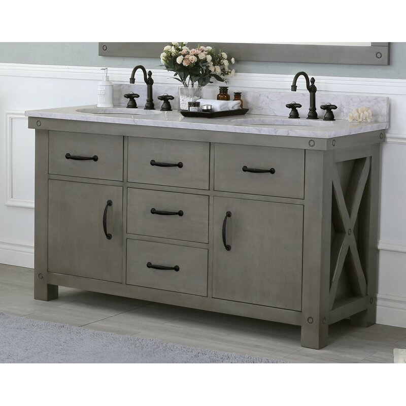 Rosalind Wheeler Aberdeen 60 Double Bathroom Vanity Set Reviews Wayfair