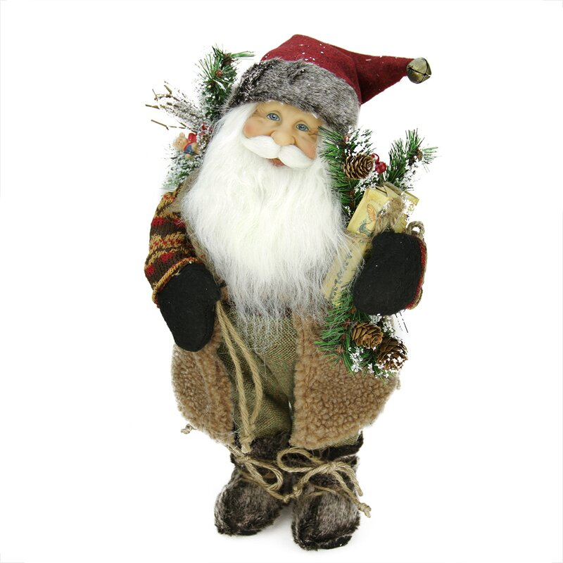 The Holiday Aisle Country Rustic Standing Santa Claus With Burlap Sack Christmas Figure Reviews Wayfair