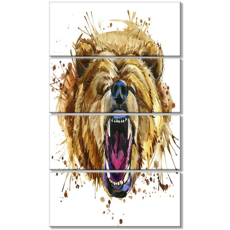 Designart Growling Grizzly Bear Watercolor 4 Piece Painting Print On Wrapped Canvas Set Wayfair