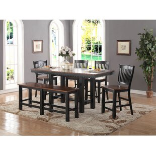 Manassa 6 Piece Extendable Solid Wood Dining Set