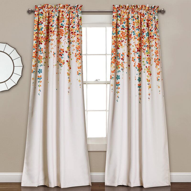 Cumberland Nature/Floral Room Darkening Thermal Rod Pocket Curtain Panels