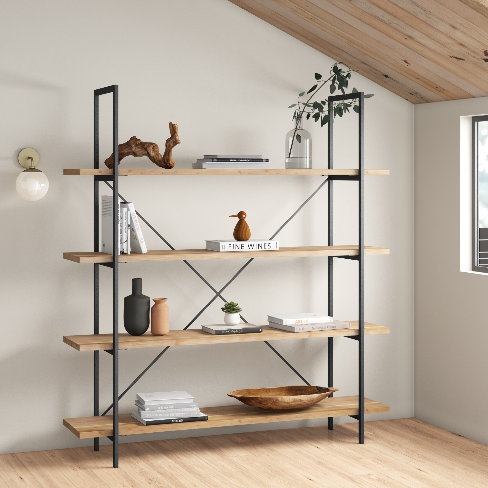 5-Shelf 59 in Tall Wood Bookcase Black Brown White or Natural