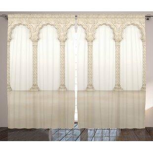 Kyla Pillar Graphic Print & Text Semi-Sheer Rod Pocket Curtain Panels (Set of 2) by Ebern Designs