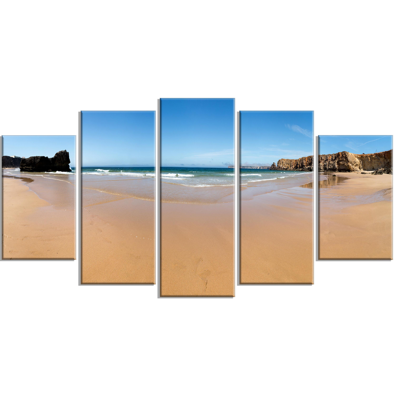 Designart Calm Sandy Coastline Panorama 5 Piece Photographic Print On Wrapped Canvas Set Wayfair