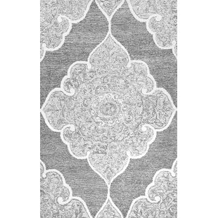 Top Reviews Burdon Hand-Tufted Wool Gray/White Area Rug ByBungalow Rose