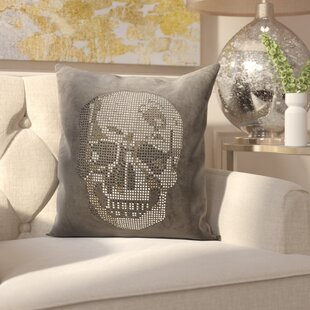 Bridgnorth Rhinestone Skull Suedette Throw Pillow