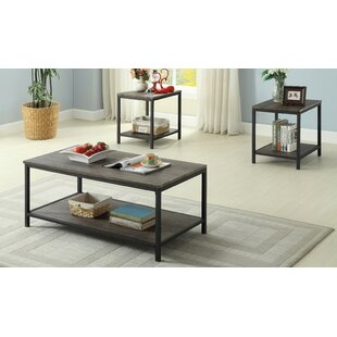 Ivy Distressed Wooden 3 Piece Coffee Table Set