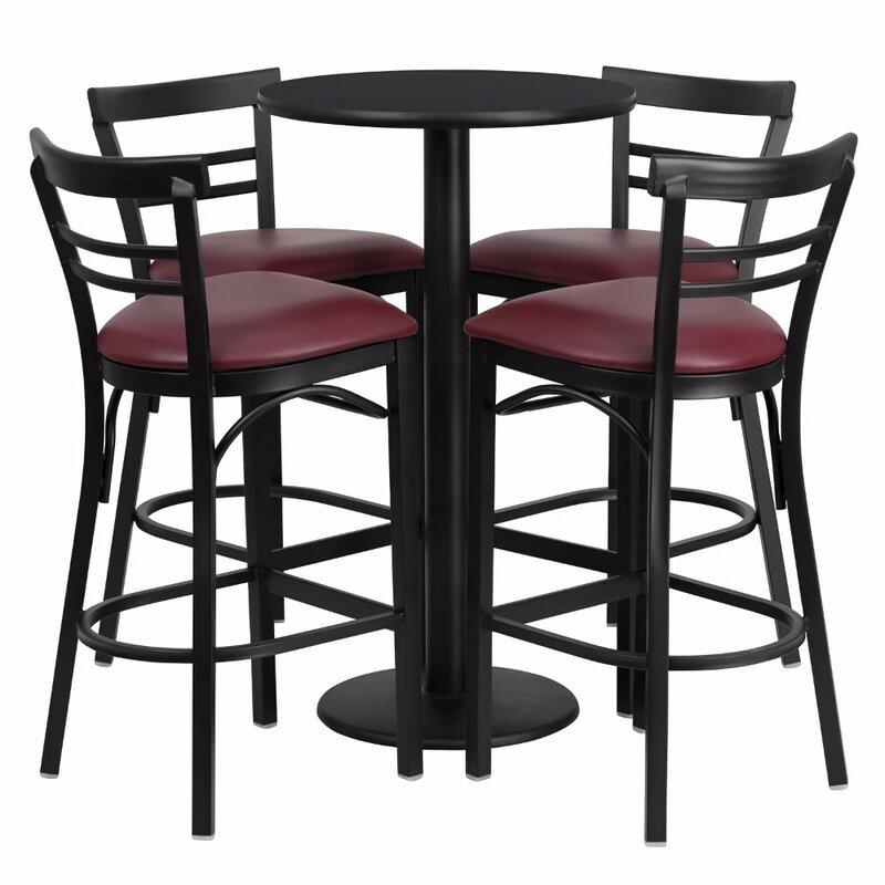Red Barrel Studio Alvarez Round Laminate 5 Piece Upholstered Pub Table Set Wayfair Ca