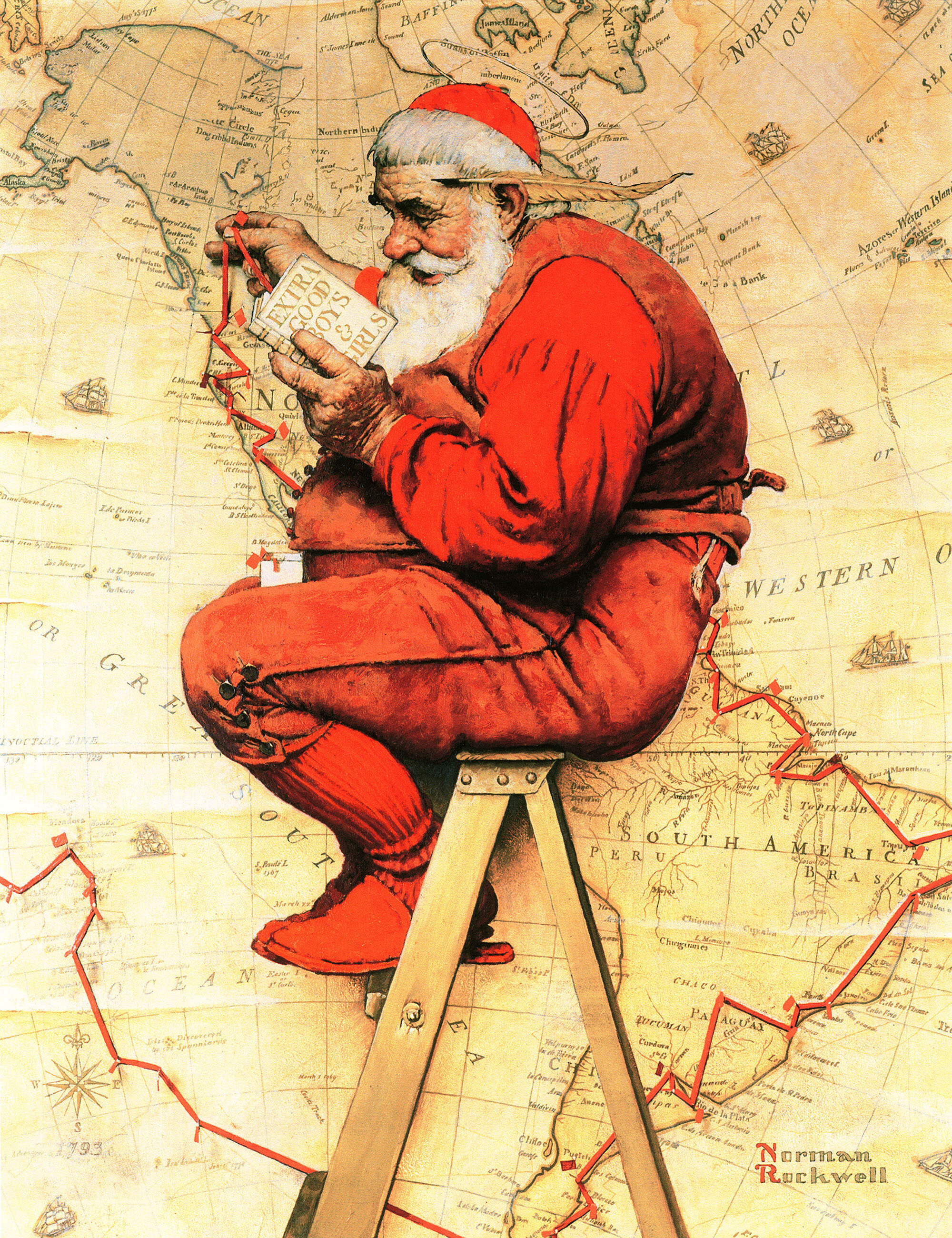 Vault W Artwork 'Santa at the Map' by Norman Rockwell Graphic Art Print on  Canvas | Wayfair.ca