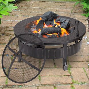 Adeco Trading Sheet Steel Wood Burning Fire Pit Table