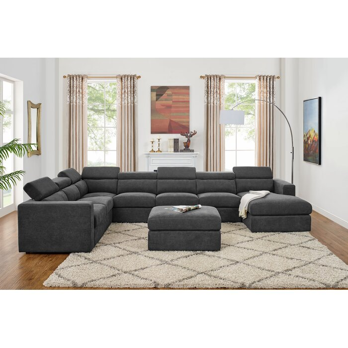 Fowlerville 6 Seater Large Right Hand Facing Sectional Sofa With Ottoman