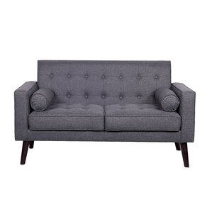 Morre Solid Linen Tufted Loveseat by Zipcode Design