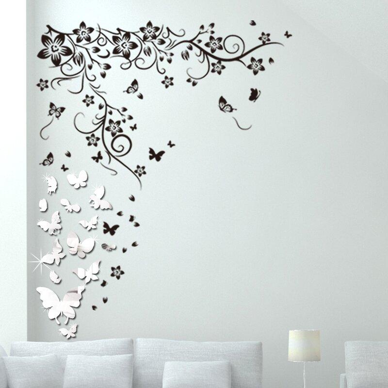 walplus mirror butterflies vine wall decal | wayfair