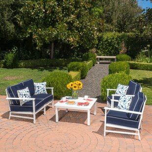 Andrea 4 Piece Sunbrella Sofa Set with Cushions by Longshore Tides