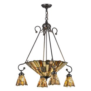 Meyda Tiffany Greenbriar Oak Delta Jadestone 5-Light Shaded Chandelier