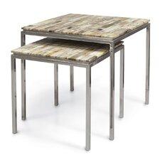Mosaic Petrified 2 Piece Nesting Tables by Palecek