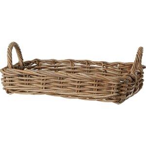 Vinita Rattan Tray Basket in Grey