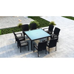 Everly Quinn Glendale 9 Piece Dining Set with Sunbrella Cushion