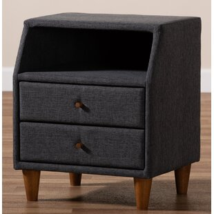 Binion Fabric Upholstered 2 Drawer Nightstand