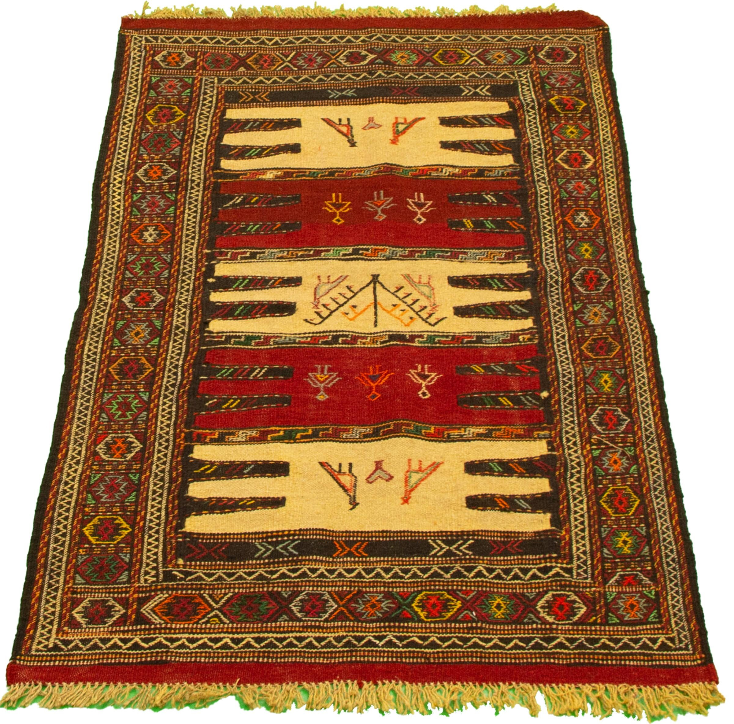 Bloomsbury Market Ahley Handmade Kilim Wool Dark Red Beige Rug Wayfair