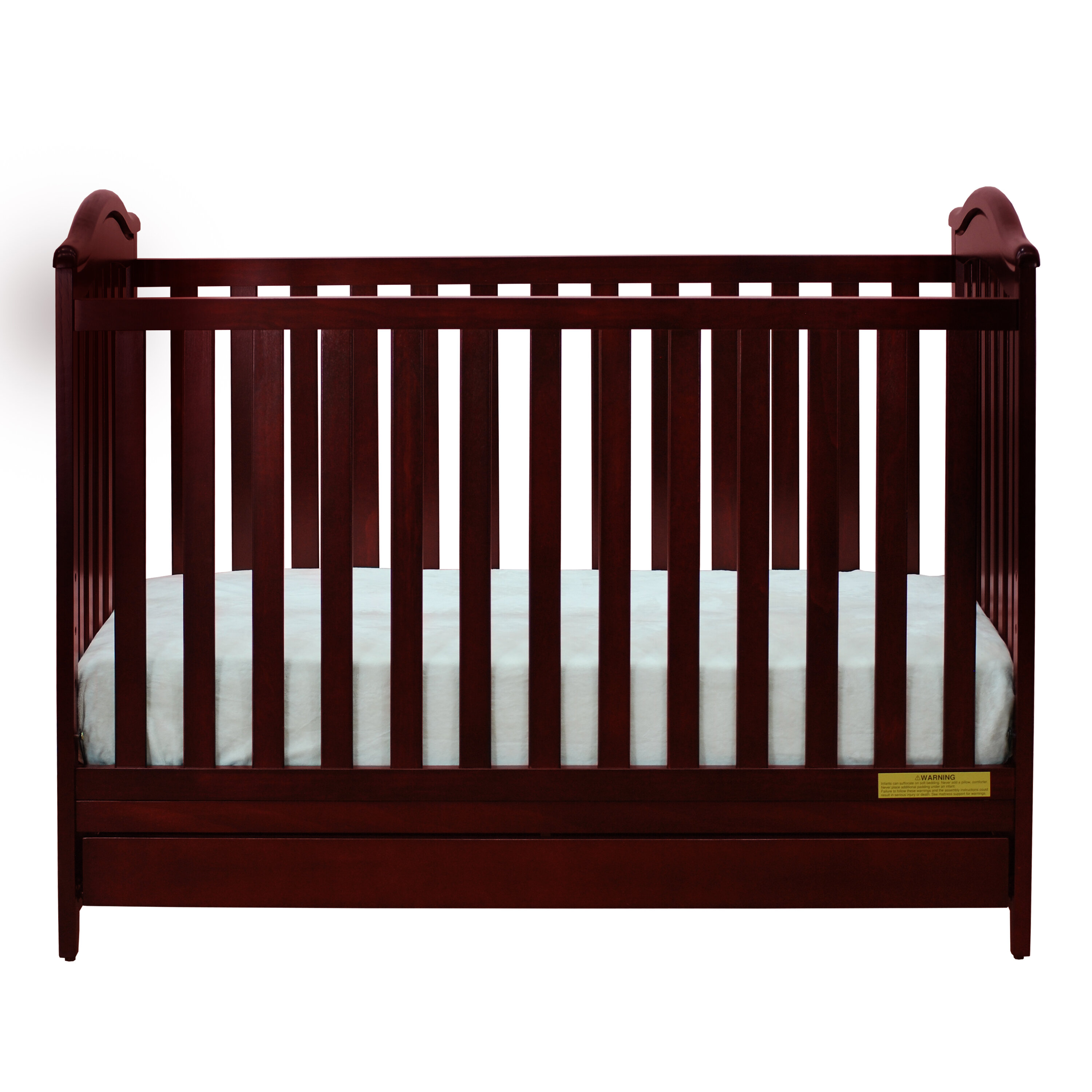 Baby Crib Toddler Bed 3in1 Convertible in Cherry Solid Wood with Child Safety