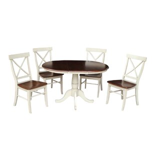Petra 5 Piece Extendable Solid Wood Dining Set August Grove
