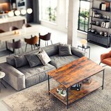 """Living Room Coffee Table, Rustic Wood And Metal Cocktail Table With Shelves, 40"""", Brown"""