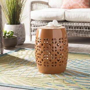Asian Traditional Orange Ceramic Garden Stool With Dragon Motif Outdoor