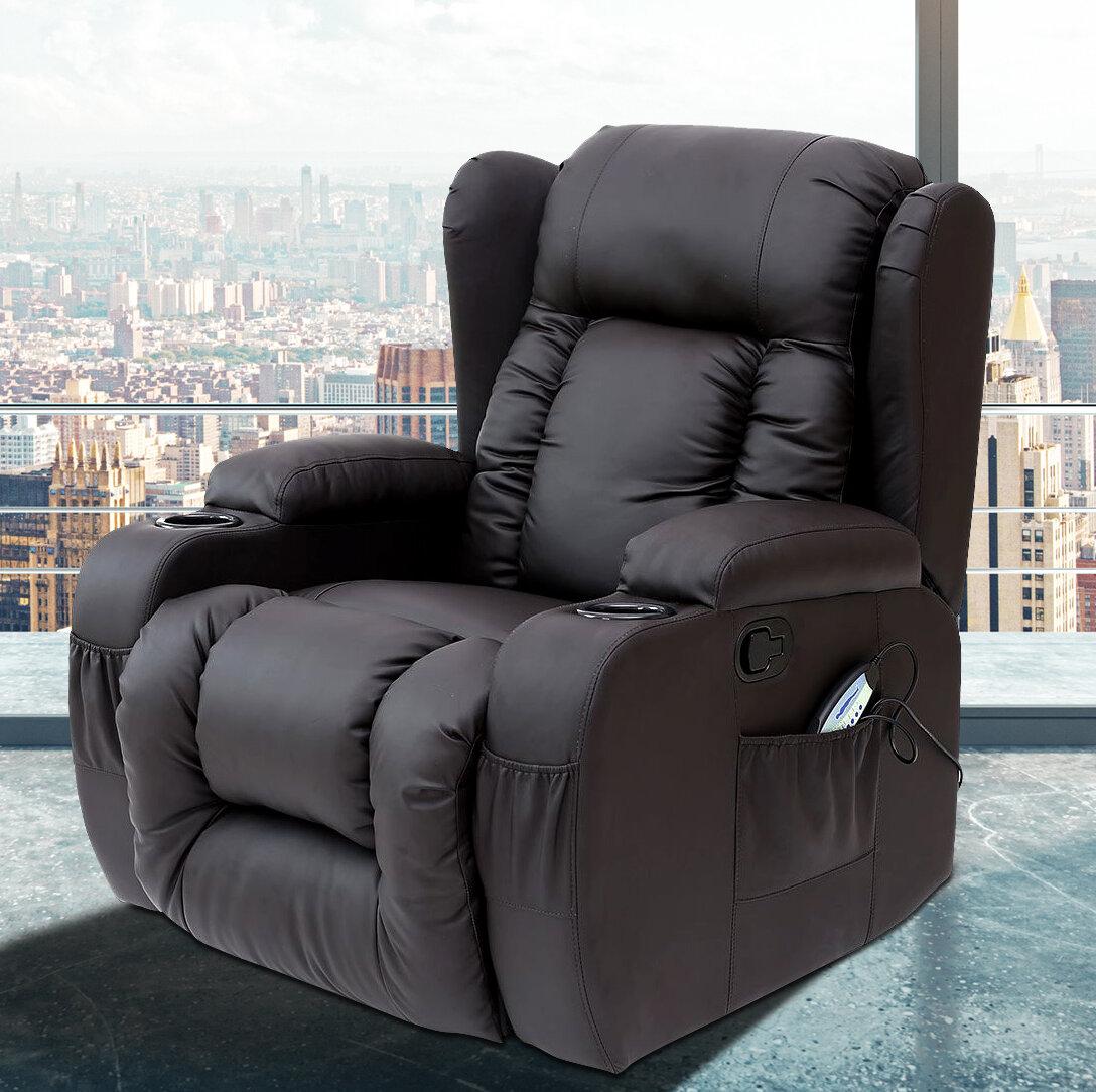 Pdaeinc Idaho Leather Reclining Heated Massage Chair Reviews Wayfair