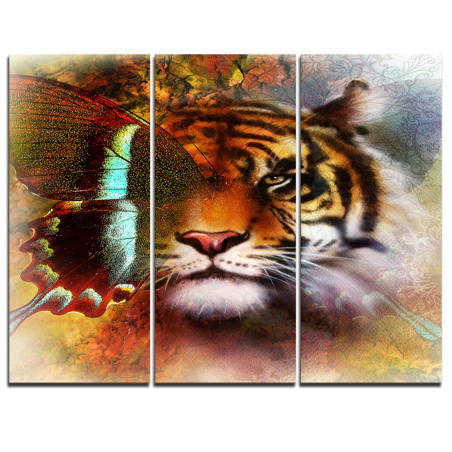 Designart Tiger With Butterfly Wings 3 Piece Graphic Art On Wrapped Canvas Set Wayfair
