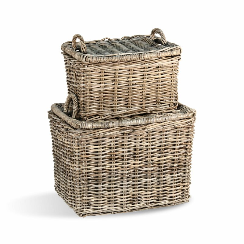 Picnic 2 Piece Wicker/Rattan Basket Set - French Country Basket Inspiration: Resources for Rustic, French Market, and Boulangerie as well as photos to Inspire!