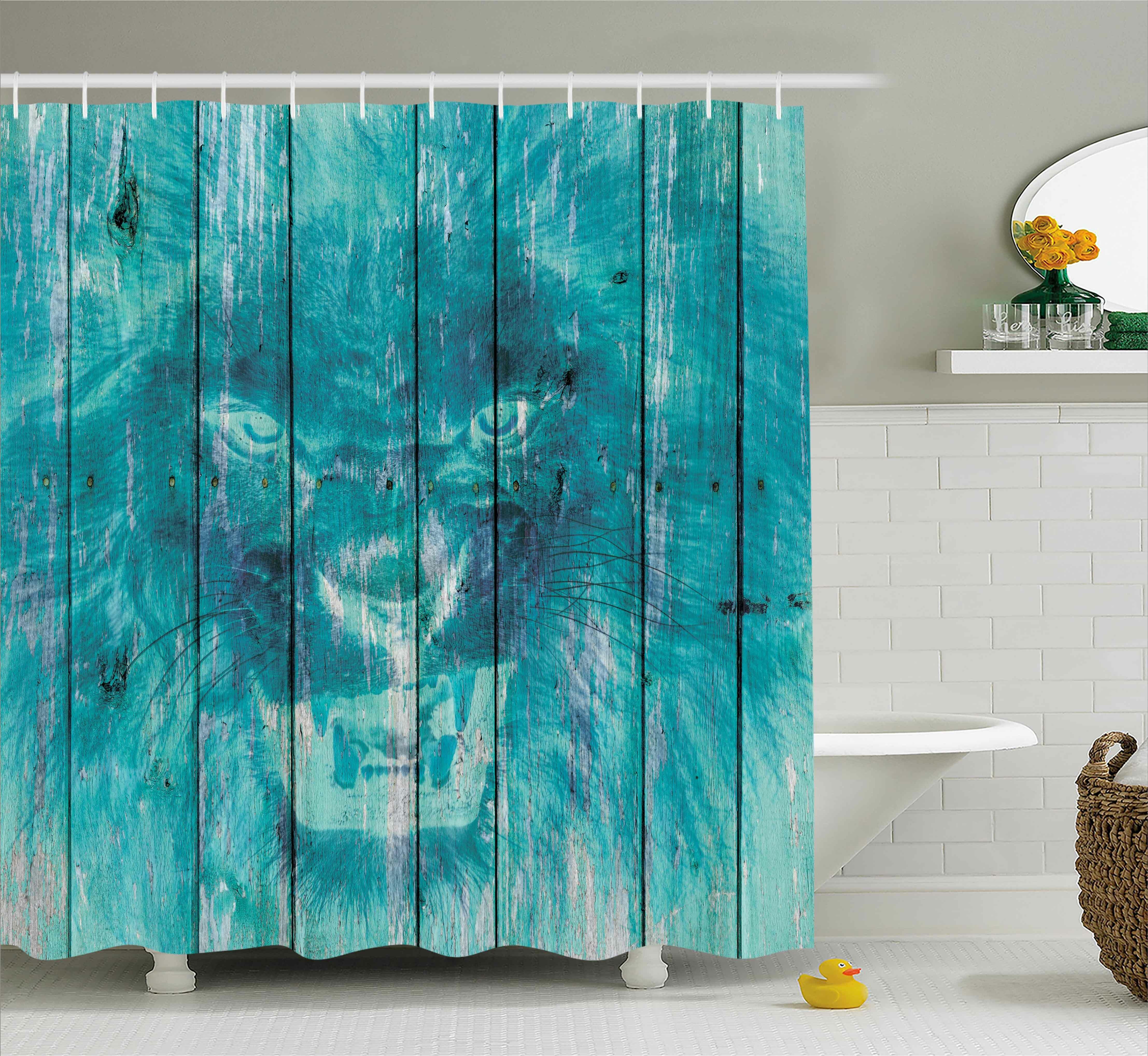 East Urban Home Retro Wooden King Lion Decor Single Shower Curtain Wayfair