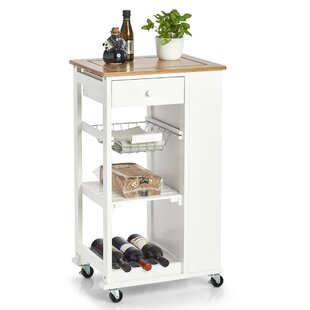 Kitchen Trolley With Solid Wood Top By Zeller