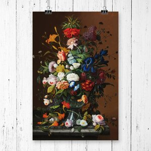 'Still Life Flowers and Birds Nest' by Severin Roesen Painting Print