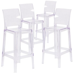 Willa Arlo Interiors Darchelle Bar Stool with Square Back (Set of 4)