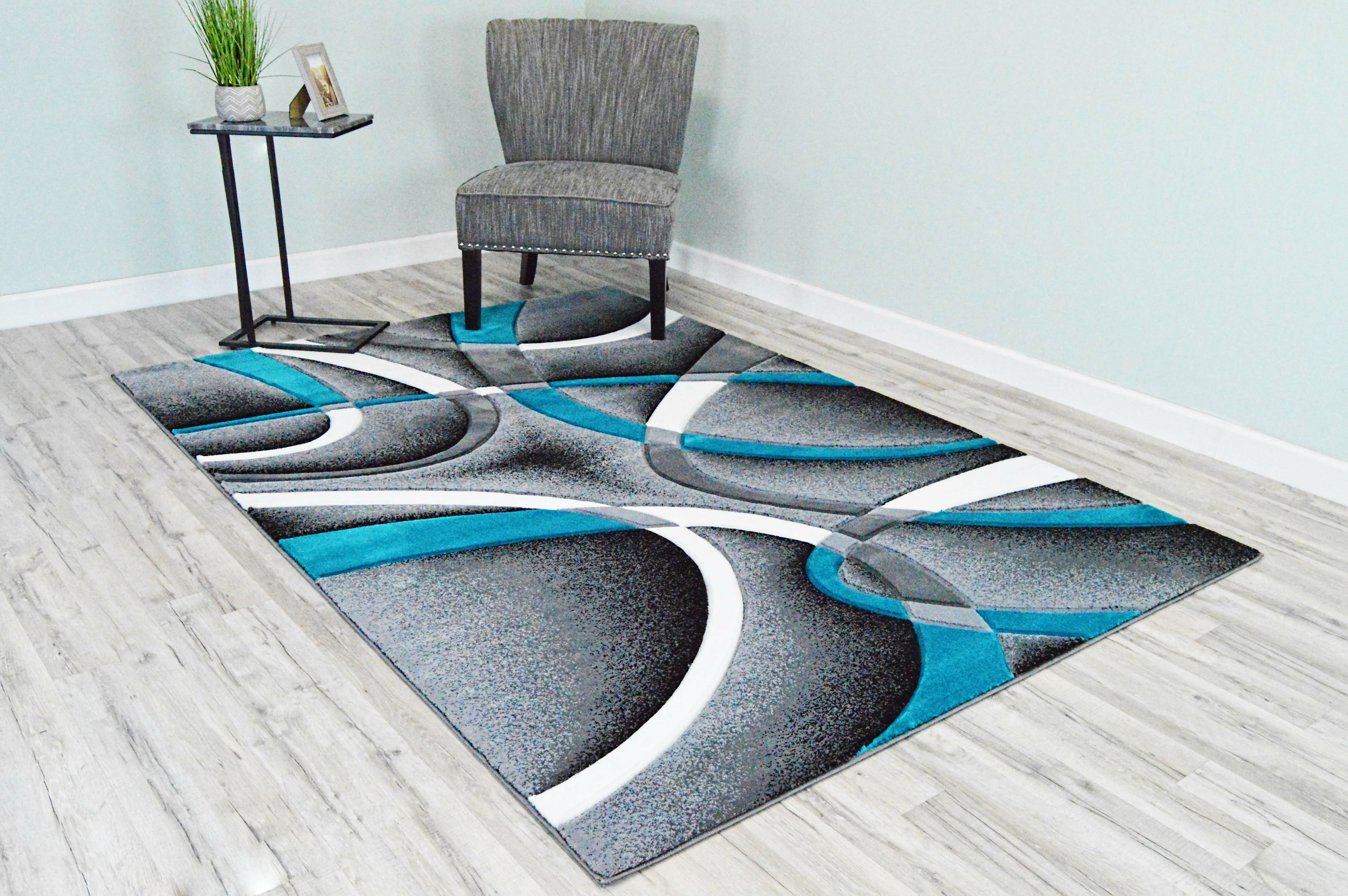 Ivy Bronx Mccampbell Abstract Gray Turquoise Area Rug Reviews Wayfair