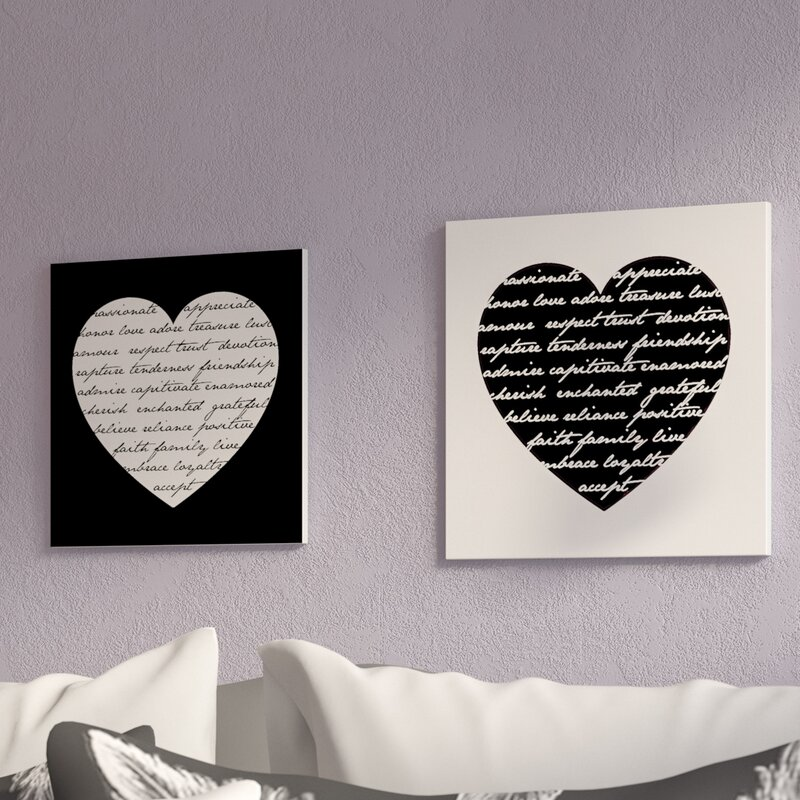 Ivy Bronx 'Hearts With Love Quotes' Typography 60 Piece Wall Plaque Cool Love Plaques Quotes